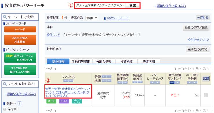 【SBI証券】投資信託パワーサーチ